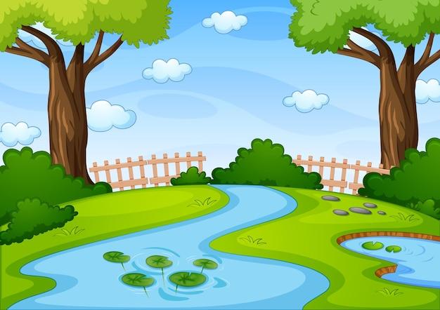 自然公園のシーンでストリーミング 無料ベクター