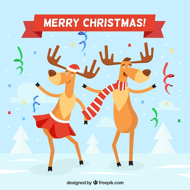 Streamer background with reindeer dancing Free Vector