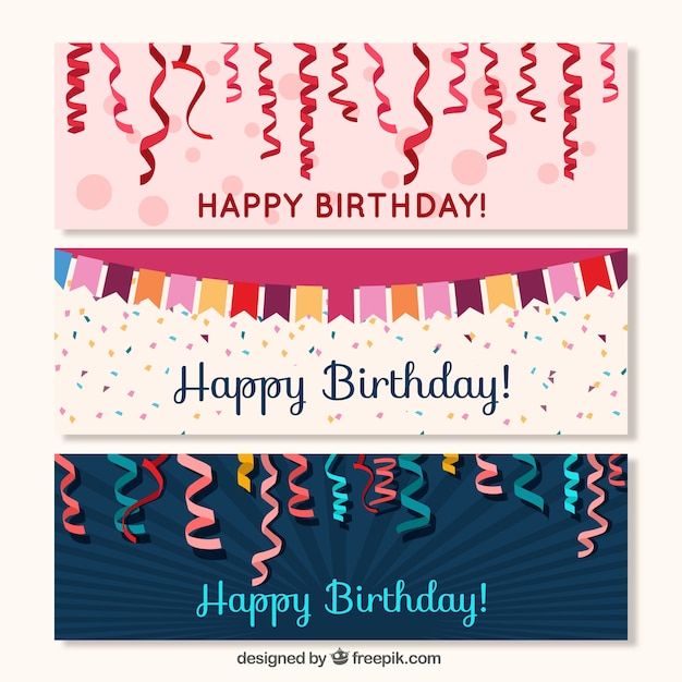 Streamer banners and garland birthday Free Vector