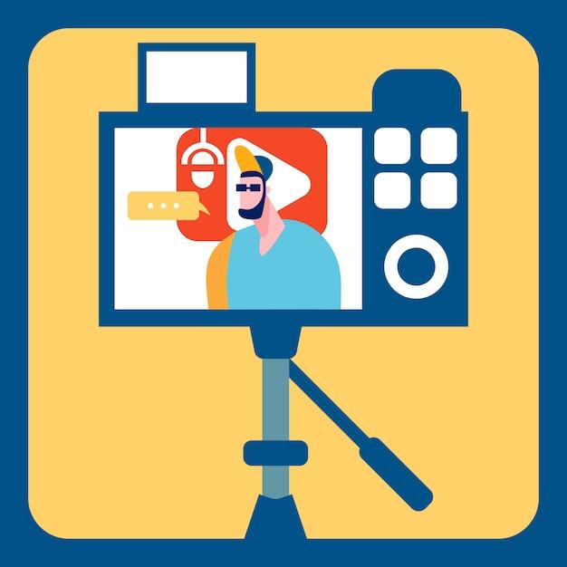 Streamer recording video flat color illustration Premium Vector