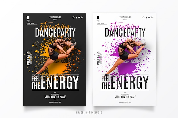 Streaming dance show template Free Vector