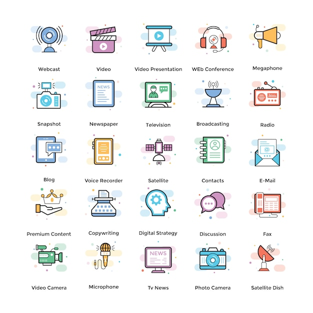 Streaming flat icons pack Premium Vector