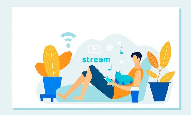 Онлайн кинопоток с мобильного устройства. streaming Premium векторы