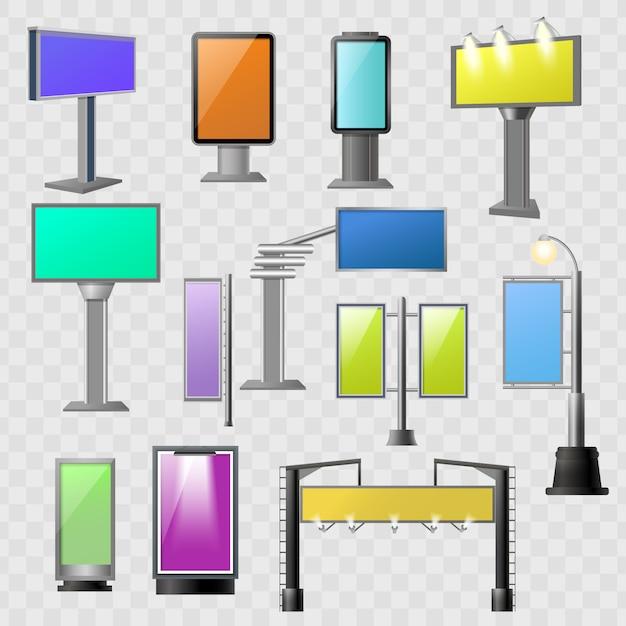 Street advertisement colored element set Free Vector