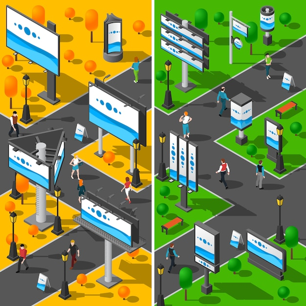 Street advertising isometric banners set Free Vector