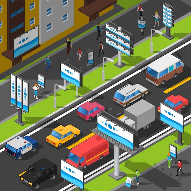 Street advertising isometric illustration Free Vector