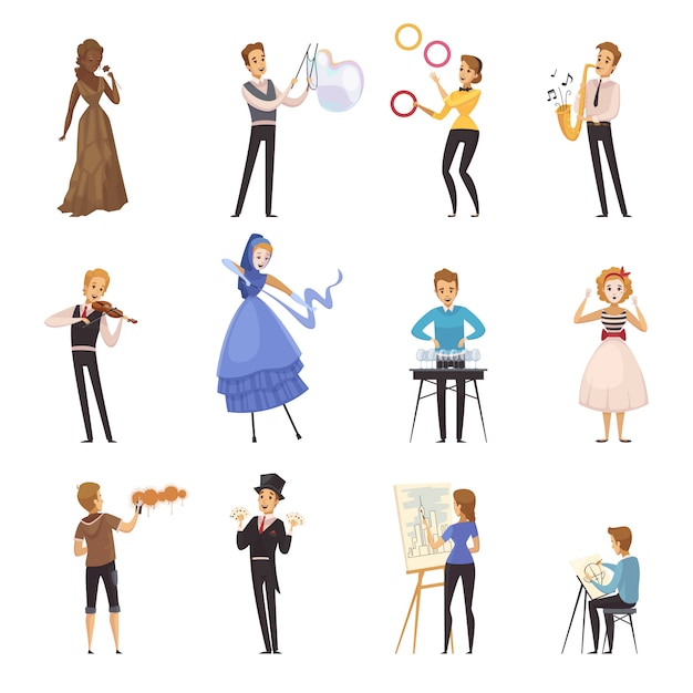 Street artists isolated cartoon icons Free Vector