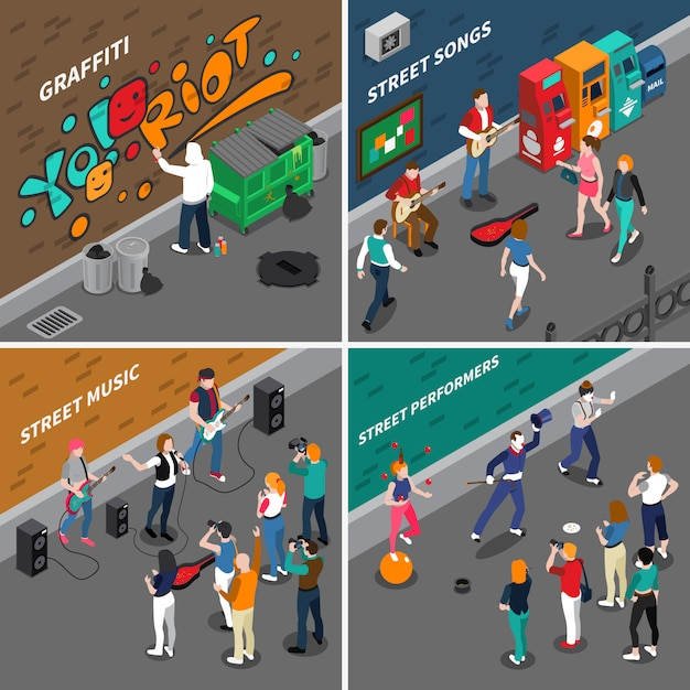 Street artists isometric compositions Free Vector