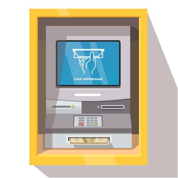 Уличная банкоматная машина с текущим режимом работы Бесплатные векторы