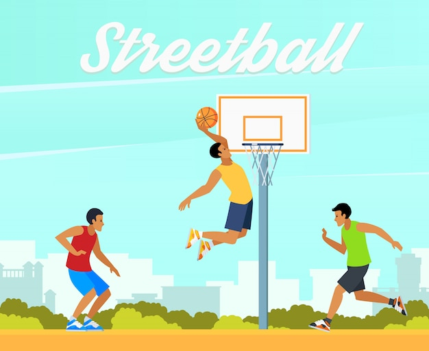 Street basketball illustration Free Vector