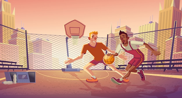 Street basketball players cartoon with young caucasian and african american men Free Vector