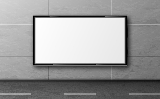 Уличный рекламный щит, макет дисплея висят на серой плиточной стене вдоль дороги Бесплатные векторы