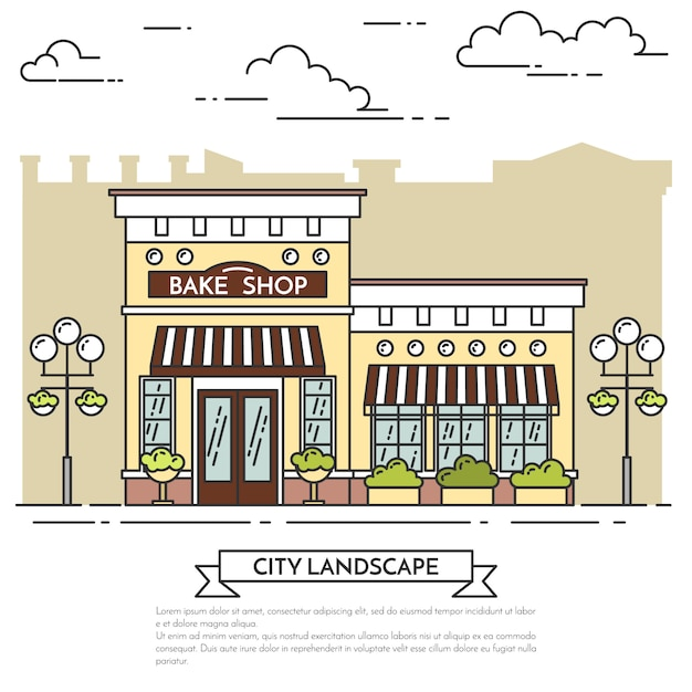 Street cafe, bakery with lamps on white background. vector illustration. line art. Premium Vector