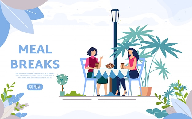 Street cafe, coffee shop flat  web banner Premium Vector
