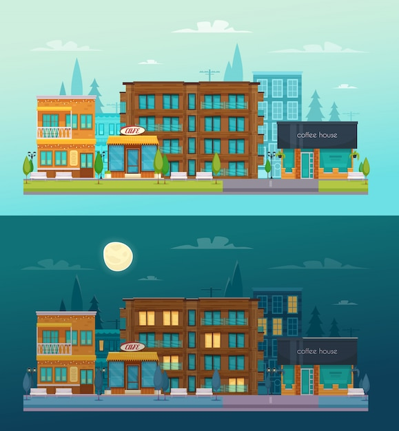 Street cafe day night 2 flat horizontal banners set with cafe restaurant bar composition isolated Free Vector