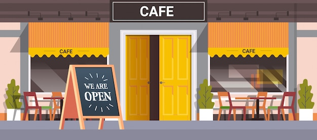 Street cafe facade with we are open board urban building house exterior coronavirus quarantine is over Premium Vector