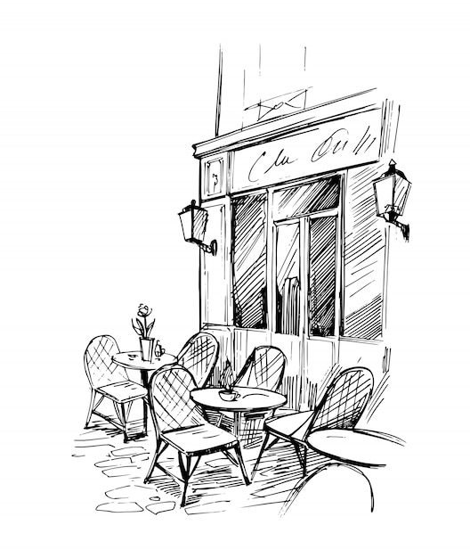 Уличное кафе. ручной обращается эскиз. Premium векторы