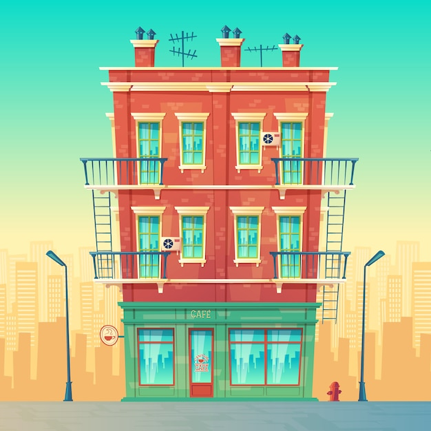 Street cafe in residential multi-storey apartment, urban business, restaurant inside Free Vector