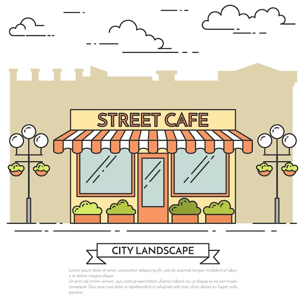 Street cafe with lamps, flowers on white background. vector illustration. line art. Premium Vector