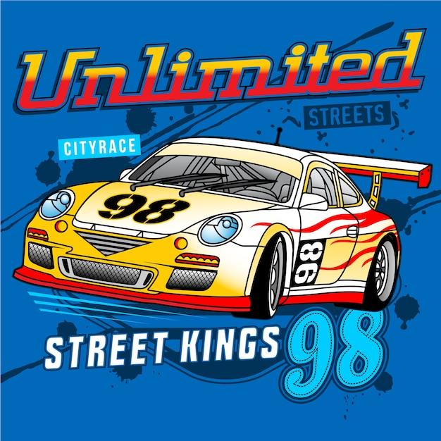Street car racing,car vector illustration Premium Vector