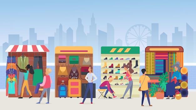 Иллюстрация уличного рынка одежды. Premium векторы