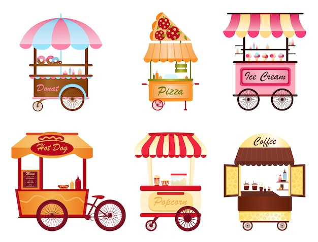 Street coffee cart, popcorn and hot dog shop, pizza, ice cream and donut shop set Premium Vector