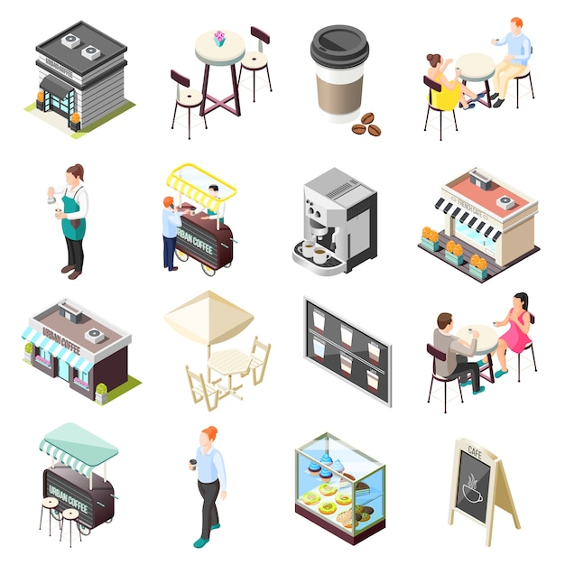 Street coffee isometric icons set Free Vector