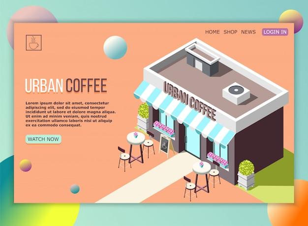 Street coffee landing page Free Vector