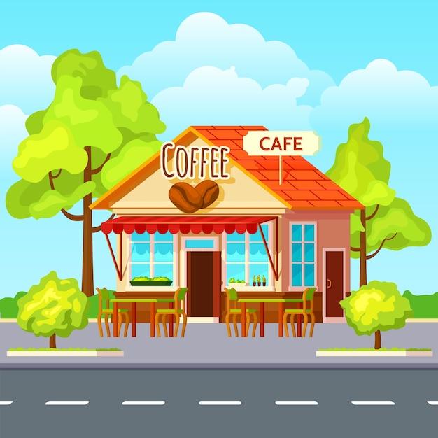 ストリートコーヒーアウトドア構成 無料ベクター