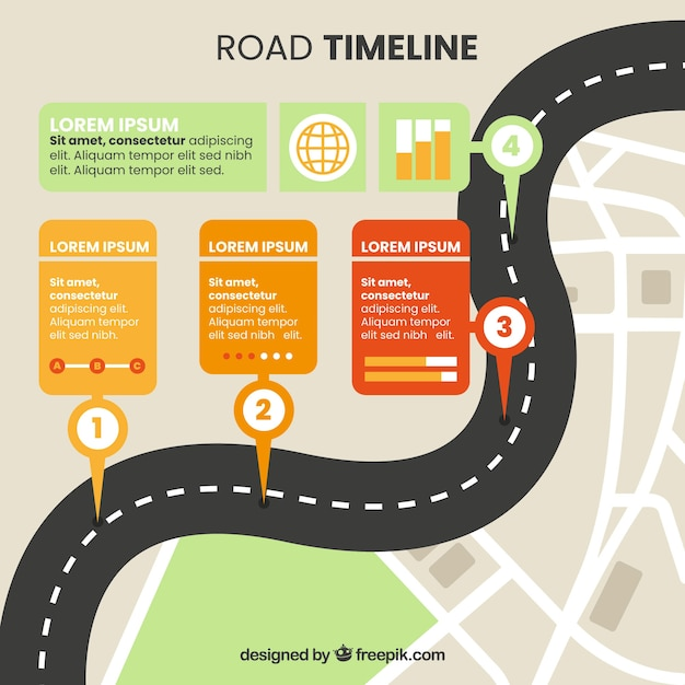 Street concept for infographic timeline Free Vector