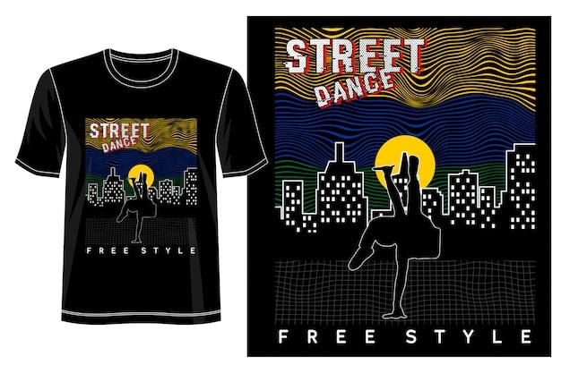 プリントtシャツのストリートダンスデザイン Premiumベクター