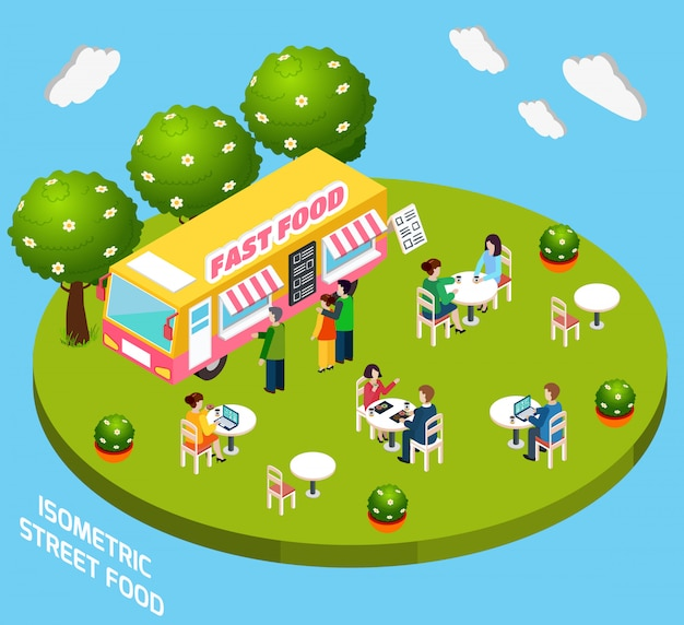 Street fast food truck isometric banner Free Vector