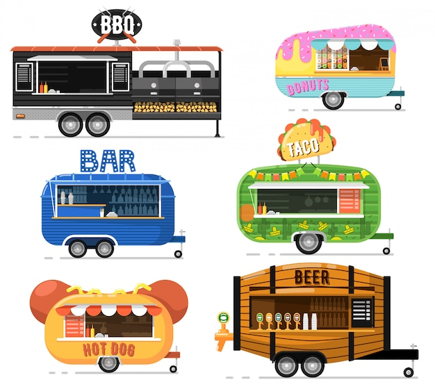 Street fast food truck set in flat style Premium Vector