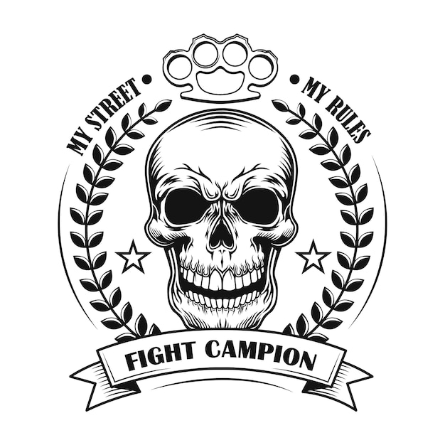 Street fight champion vector illustration. skull of competition winner with award decoration and text Free Vector