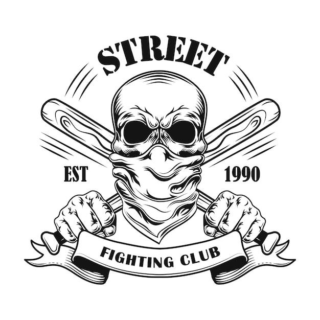 Illustrazione di vettore del membro di lotta di strada. teschio in bandana, mazze da baseball incrociate e testo Vettore gratuito
