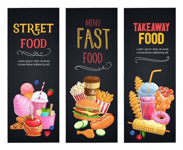 Street food banners. takeaway meals template with bubble waffles, hong kong, spiral potato chips, lemonade and apples in caramel Premium Vector