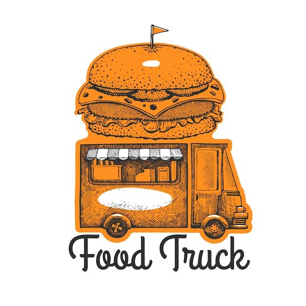 Шаблон логотипа фургон уличной еды. нарисованная рукой тележка с иллюстрацией фаст-фуда. выгравированный стиль гамбургер грузовик ретро. Premium векторы