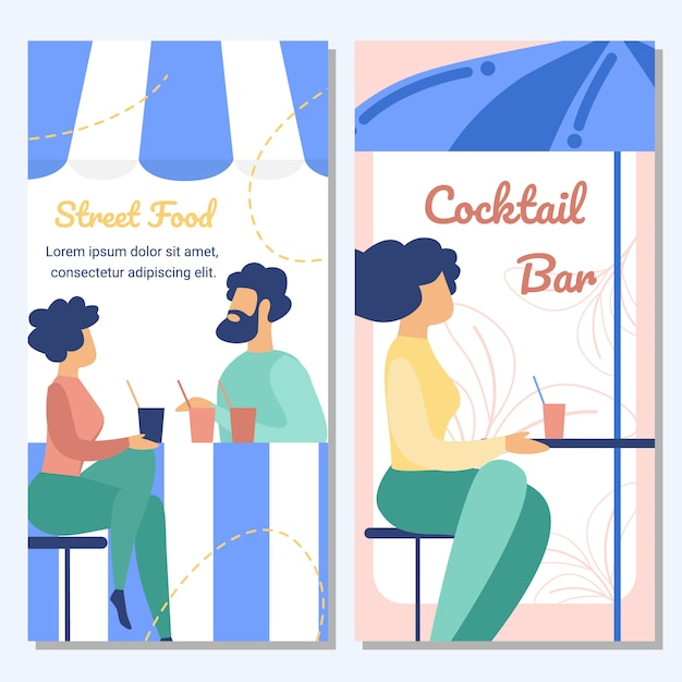 Street food and cocktail bar flat vector banner Premium Vector
