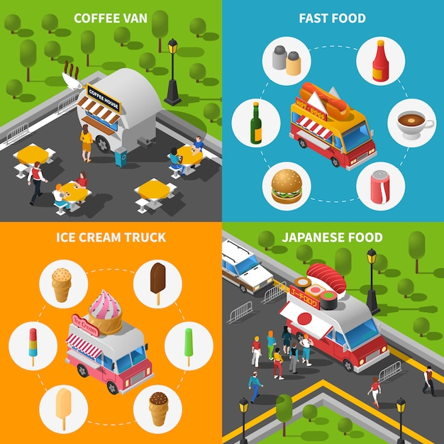 Street food concept icons set Free Vector