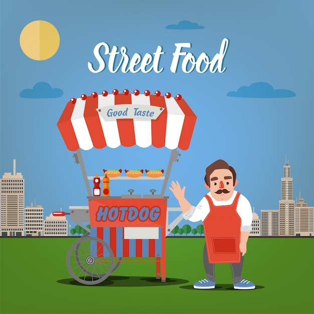 Street food concept with burger food truck and seller in the megapolis Premium Vector