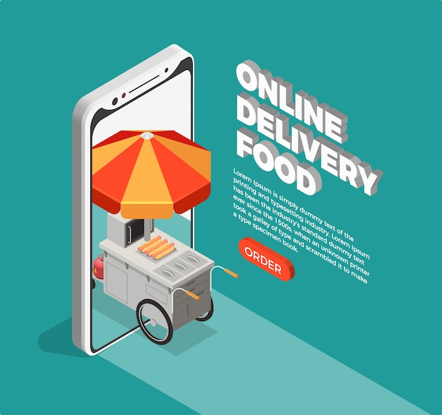 Street food delivery concept Free Vector