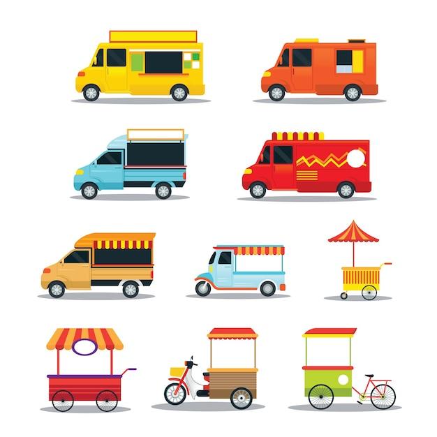 Street food and fast food vehicles set Premium Vector