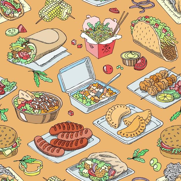 Уличная еда фастфуд бургер или жареные колбаски и традиционная кухня тако или фалафель иллюстрации набор быстрых закусок шаурмы и куриного шашлыка Premium векторы