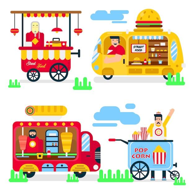 Street food or fastfood vendor vans vector flat icons. Premium Vector
