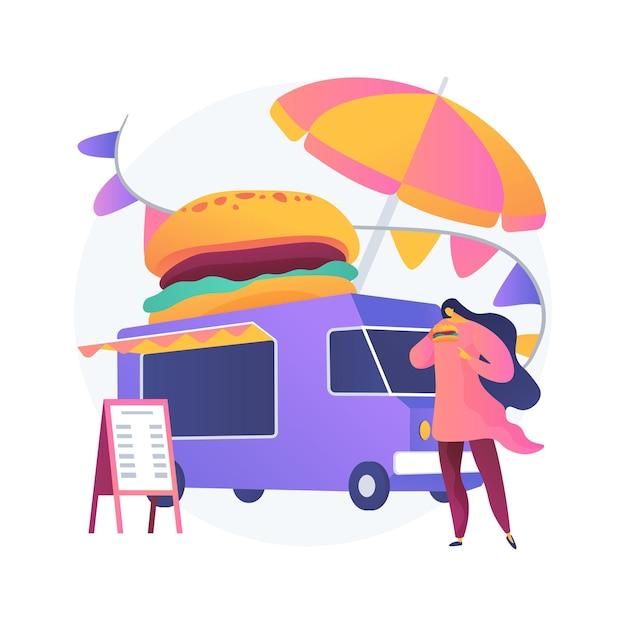 ストリートフードフェスティバルの抽象的な概念図。フードトラックサービス、地元のフードイベント、野外活動、シェフが食事を準備する、国際的なメニュー、芸術と音楽 無料ベクター