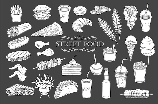 Значки глифов уличной еды. белый на черном изолированные силуэты еды на вынос, иллюстрация для меню кафе в стиле ретро. Premium векторы