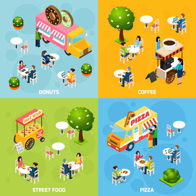 Street food isometric vector image with characters Premium Vector