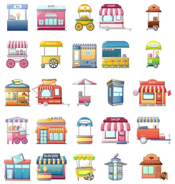 Street food kiosk icons set Premium Vector