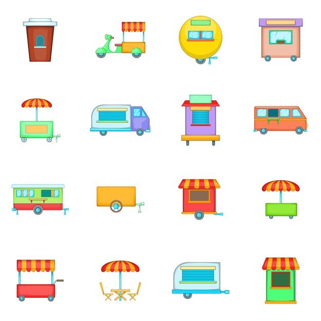Street food kiosk vehicle icons set Premium Vector