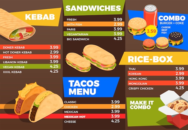 Street food menu composition Free Vector